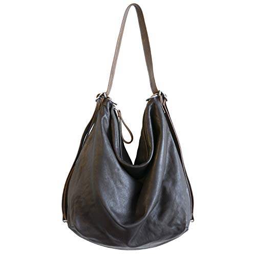 Hobo Pack Convertible Backpack Leather Handbag (Dark Brown) made in Maine