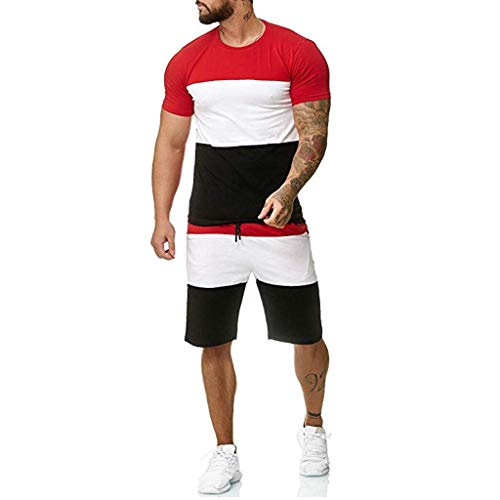 Patchwork T-Shirts for Men,NEWONESUN Drawstring Running Shorts Summer Casual Short Sleeve Tracksuit Loungewear Red