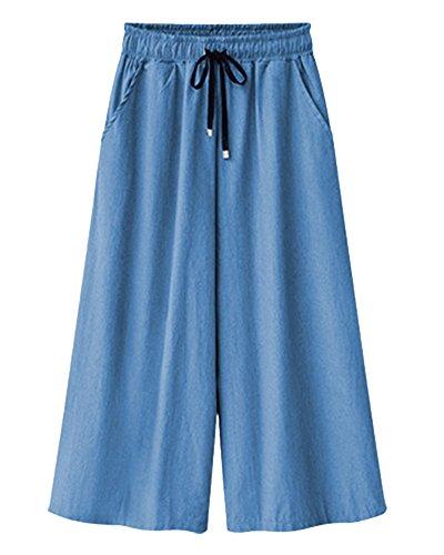 Larga Caviglia Confortevole Qitun Loose Traspirante Alla Azzurro Pantaloni Estivi Gamba 3 Di Donna Denim Sottile 4 Lunghezza qpwprtY