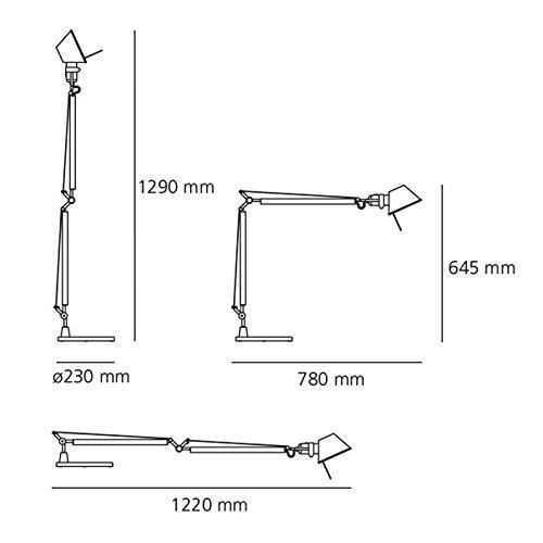 Artemide Tolomeo l/ámpara de Mesa Base 23/cm A001000