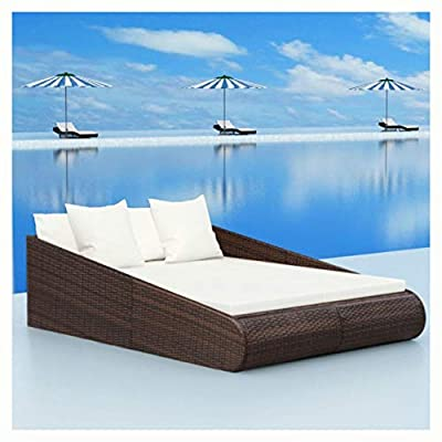 """K&A Company Outdoor Bed, Daybed Poly Rattan 79""""x54.7""""x22.8"""" Brown"""
