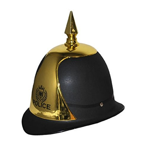 Prussian Royal Police Officer Policeman London Yard Bobby Helmet Hat Costume Black/Gold]()