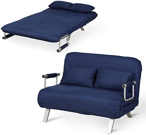 HomCom Small Sofa Couch Futon with Fold Up Bed and Adjustable Backrest, Featuring Modern Design with Chic Suede, Blue