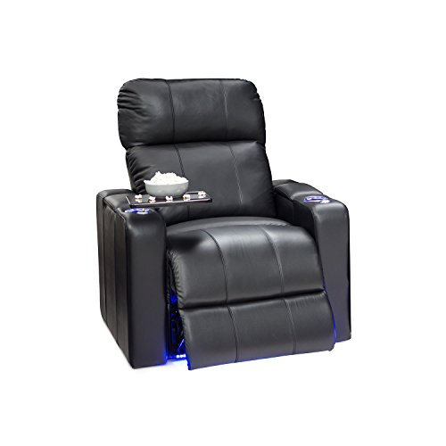 Seatcraft 2208 Monterey Leather Home Theater Seating Recliner with Adjustable Powered Headrest, in-Arm Storage, USB Charging, Ambient Base Lighting and Cup Holders, Black