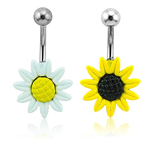 Adecco LLC A Pair White and Yellow Sunflower Belly Button (Belly Button Ring Gauge)