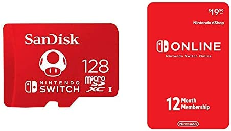 SanDisk 128GB MicroSDXC UHS-I Memory Card for Nintendo Switch with Nintendo Switch Online 12-Month Individual Membership [Digital Code]