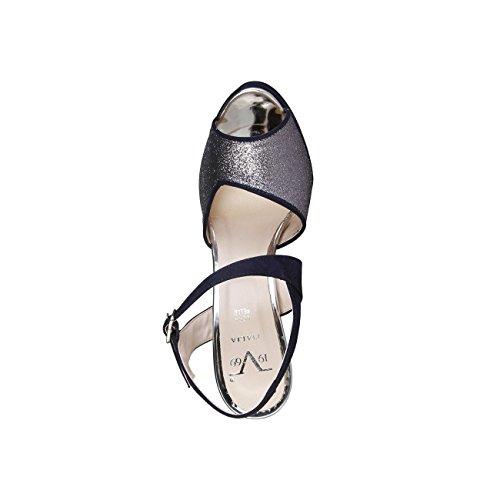 V 1969 - CALIXTE_BLU Donna Sandali Della Caviglia Cinghia Tacco 12.5 cm, Piattaforma 2.5 cm