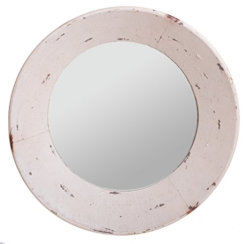 Large Old Fashioned Vintage Weathered Distressed Decorative Farmhouse Wall Mirror, Cream, 22-inch (Cream Wall Mirror)