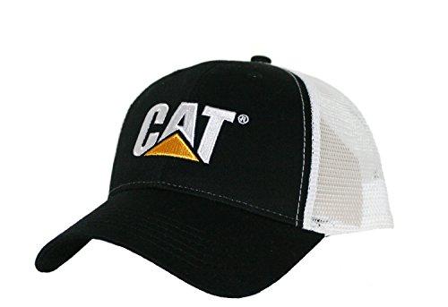 Caterpillar CAT Black & White Twill Mesh Snapback Cap (Trucker Hat Cat)