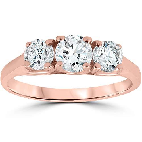 - 1ct Three Stone Solitaire Diamond Anniversary Engagement Ring 14k Rose Gold - Size 8