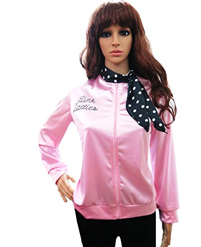 Pink Ladies Halloween Costumes (50's Grease T-Bird Danny T Bird / Pink Ladies Jacket Costume Fancy Dress With Rhinestone Primary Version XL)