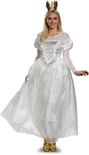 Disney Women's Alice Queen Deluxe Costume, White, (White Queen Alice In Wonderland Costume)