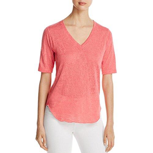 Short Sleeve V-neck Cashmere Sweater - Nally & Millie Womens V-Neck Short Sleeves Pullover Sweater Pink L