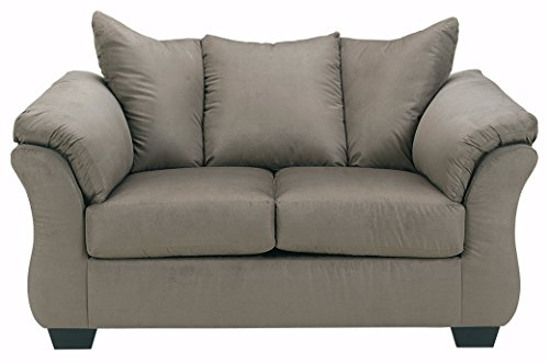 Fabric Upholstered Queen Sleeper (Ashley Furniture Signature Design - Darcy Love Seat - Contemporary Style Microfiber Couch - Cobblestone)