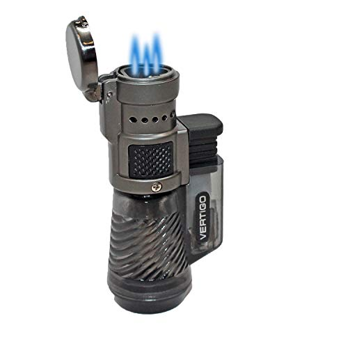 Vertigo Cyclone Charcoal and Brushed Chrome Triple Flame Torch Lighter