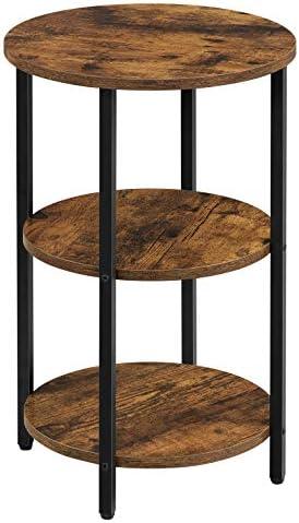 VASAGLE Beistelltisch, Sofatisch, rund, mit 3 Ablagen, aus Stahl, einfache Montage, für Wohnzimmer, Schlafzimmer, Industriestil, vintagebraun-schwarz LET280B01