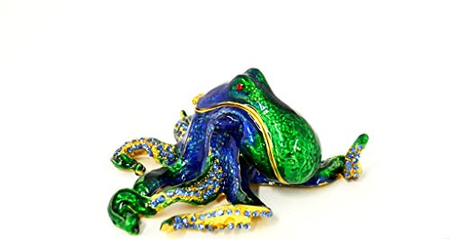 Green And Blue Octopus Jeweled Swarovski Crystal Trinket Box Austrian Crystal Jeweled Pewter Box