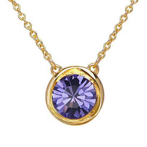 SWEETV Round Swarovski Crystal Birthstone Necklace - 18K Gold Plated Chains Jewelry Gift for Women Girls, 18+2