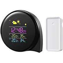AMIR Digital Wireless Weather Station, Indoor Outdoor Thermometer Hygrometer Monitor with Large Night Lighting LCD Display, Humidity Meter with Alarm Clock Function, Outdoor Sensor, Snooze Option