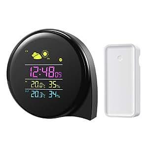 Amir estación meteorológica, termómetro higrómetro interior Digital, negro