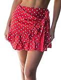 YNC Fashion Women's Summer Casual Polka Dot Flare Short Mini A Line Skirt, Red, X-Large