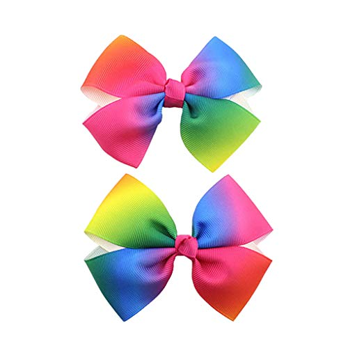 Rainbow Hair Bow with Clip Grosgrain Ribbons HairClips for Girls JB35 (2 Pcs) ()