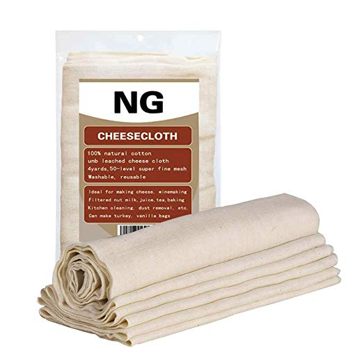 Unbleached Cheese Cloth Filter Brewing Baking Dust Cloth Holiday Decorations 37 Square Feet Kitchen Rag Cheese Making Washable and Reusable Can also Make Nut Milk Bags (50 Density 4 Yards)