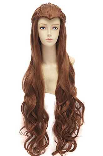 Tauriel Elf Costumes (Halloween Costumes Womens Elf Long Curly Wig Party Hair Light Brown)