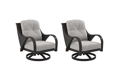 Ashley Furniture Signature Design - Marsh Creek Outdoor Swivel Lounge Chair with Cushion - Set of 2 - Brown & Gray
