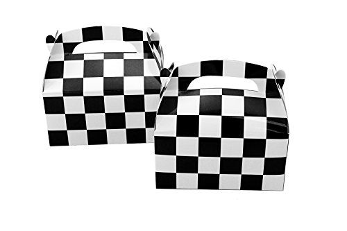 Tytroy 24 PC Checkered Racing Flag Pennant Flag Black White Treat Box Party Favor Goodie Box -