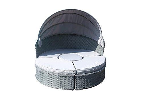Yakoe 50176 152 X 152 X 35 Cm Papaver Rattan Tag Bett Garten Möbel Outdoor  Liege Patio Sofa Sun Dach + Tisch U2013 Grau (1 ) Günstig Kaufen