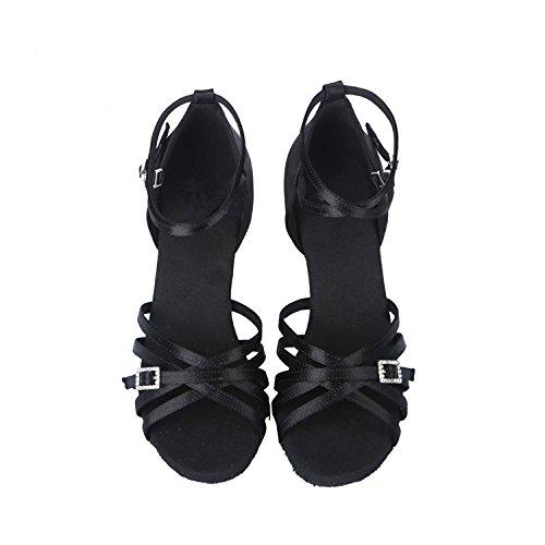 Negro Satén Ballroom SWDZM Mujer modelo de Zapatos AF 4020 latinos baile estándar 0pwAqZP