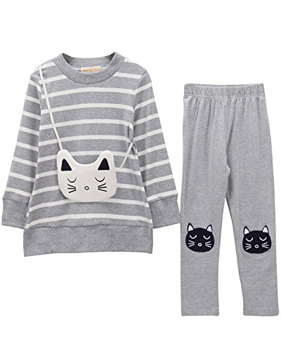 M RACLE Cute Little Girls' 2 Pieces Long Sleeve Top Pants Clothes Set (6-7 Years, Grey Cat)
