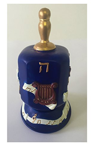 Dark Blue Hanukkah Dreidel with Violin Harp and Music Notes Design and Gold Plated Handle