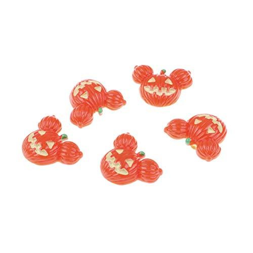 7thLake 10pcs Halloween Pumpkin Flat Back Resin Cabochon DIY Phone Decor Embellishment ()
