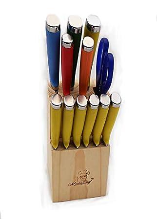 Amazon.com: Masterchef DuraCut 13 piece Multi Color Handle ...