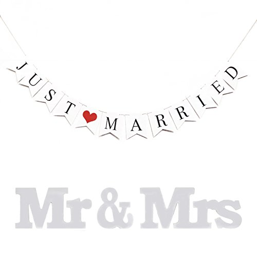 XuanHuZhe JUST MARRIED Rustic Wedding Decoration Flag Garland Wedding Banner With Mr & Mrs Signs Letters for Sweetheart Table (Cars Banner Sign)
