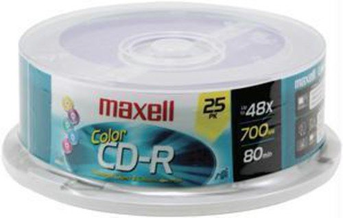 Maxell 648446 Premium Quality Recording Surface for Noise-Free Playback Write Speed 48x 700Mb Cd-Recordable 25 Disc Pack Accessory Consumer Accessories