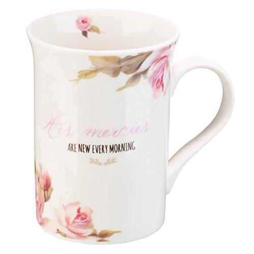 Mug-His Merices Are New Every Morning w/Coaster & Gift Box (Rose Coffee Mug Ceramic)
