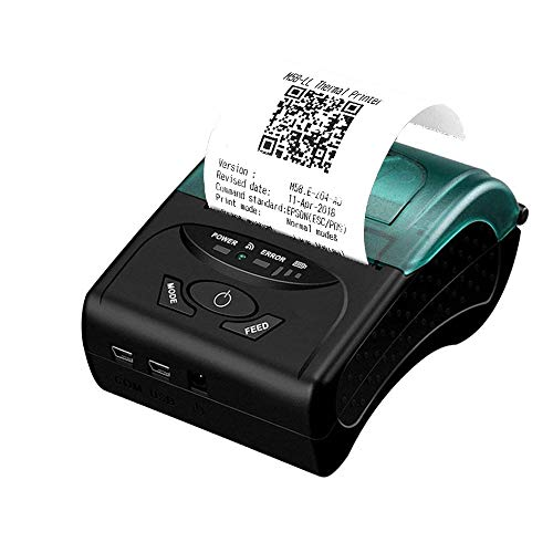 h Thermal Receipt Printer Wireless Mobile POS Receipt Printer for PC Android iOS Power by Rechargeable Battery ESC/POS/Star Print Commands Set ()