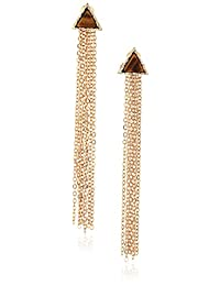 Steve Madden Triangle Stone Fringe Drop Earrings