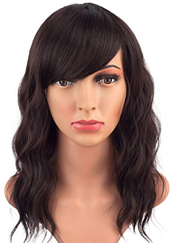 Search : Fashion Brown Wavy Hair Wigs For African American Women With Side Bangs Synthetic Heat Resistant Hair Wigs Free Wig Cap Net 16 Inches(LIGHT BROWN(4#))