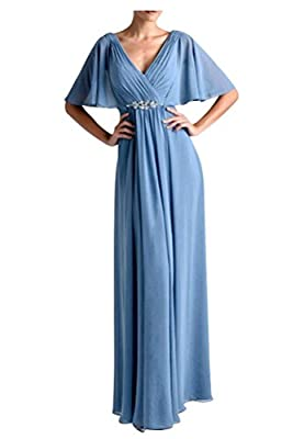 WeiYin Women's Chiffon Flutter Sleeve Long Evening Dress Mother of the Bride Dresses Blue US 8
