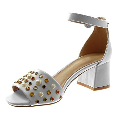 Angkorly Damen Schuhe Sandalen Pumpe - Knöchelriemen - String Tanga - Schmuck - Perle Blockabsatz High Heel 6 cm Weiß