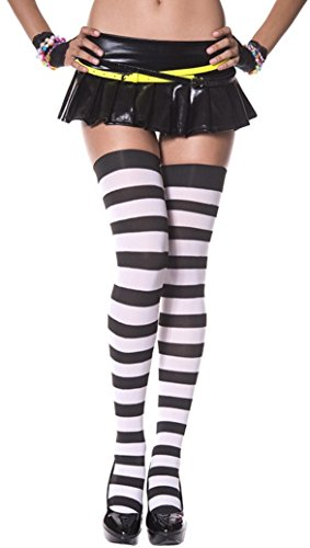 Women One Size Black/white Wide Stripes Thigh High Stockings