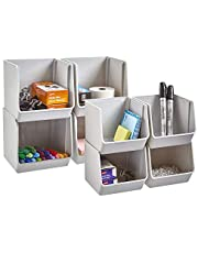 STORi Plastic Stacking Organizer Bins for Office, Pantry, and Bath   Set of 8 in 2 Sizes   Gray
