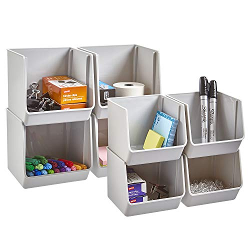(STORi Plastic Stacking Organizer Bins for Office, Pantry, and Bath | Set of 8 in 2 Sizes | Gray )