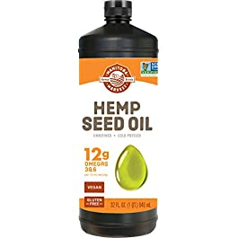 Manitoba Harvest Hemp Seed Oil, Cold Pressed, 10g of Omegas per Serving, Non-GMO, 32 Fl Oz
