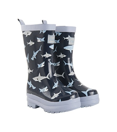 Hatley Boys' Printed Rain Boots Raincoat, Shark Frenzy, 5 US Child