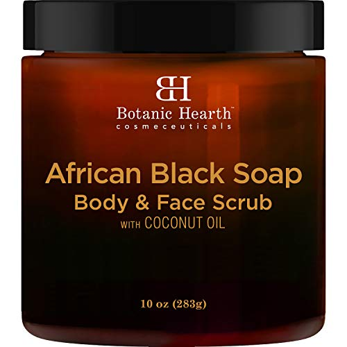 Botanic Hearth African Black Soap Face and Body Scrub - Skin Care with Coconut Oil - Promotes Healthy, Acne Prone Skin, 10 oz (African Black Soap Facial Wash Scrub Exfoliator)